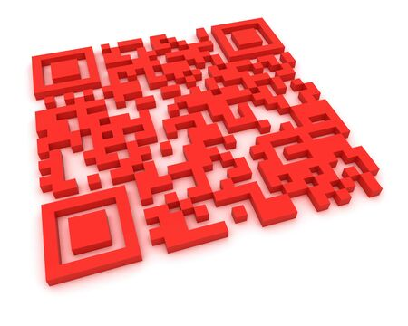upcode: Render of a QR code (quick response) on a white background. Note: this qr-code is fake