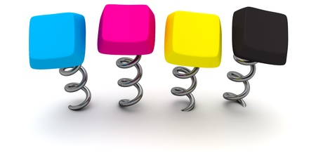 Four computer keys in CMYK colours on springs Stock Photo - 9820155
