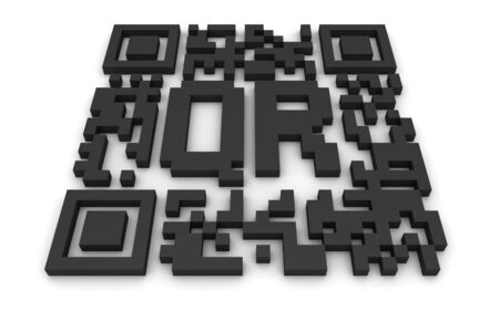 up code: Render of a QR code (quick response) on a white background. Note: this qr-code is fake