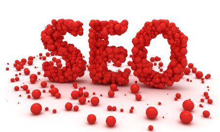 seo: Red balls make word SEO Stockfoto