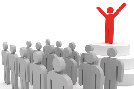 politican: Leader speaking to crowd. 3d objects isolated on the white background. Stock Photo