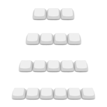 Set of blank keys. Groups of three, four, five and six buttons. photo