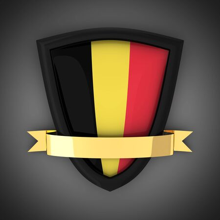 The shield in the colors of the flag of Belgium and gold ribbon.  photo