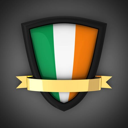 irish flag: The shield in the colors of the flag of Ireland and gold ribbon.  Stock Photo