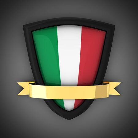 The shield in the colors of the flag of Italy and gold ribbon photo