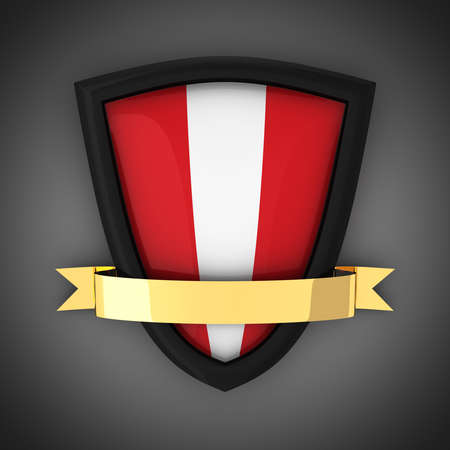 The shield in the colors of the flag of Peru and gold ribbon Stock Photo - 9971840
