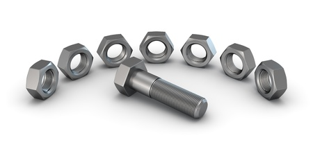 hard component: 3D render of seven screws around the bolt isolated on white background