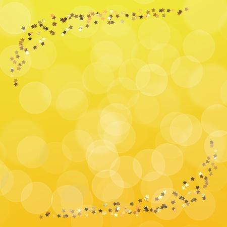 Estrellas doradas sobre fondo amarillo borrosa, patr�n de papel tapiz Foto de archivo - 10203622