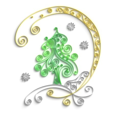 quilling: Ornamental design of christmas tree on white background, 3d quilling artwork