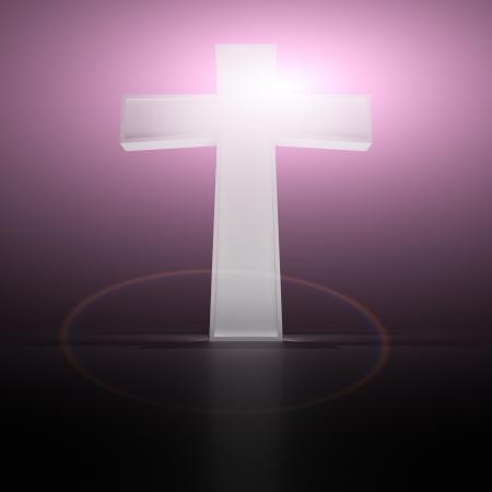 Glowing christian cross on the purple background photo