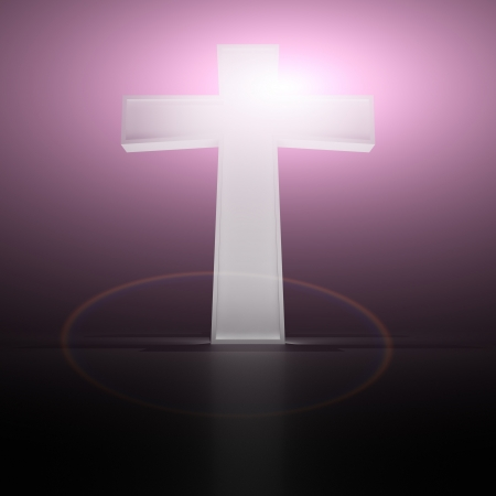 god 3d: Glowing christian cross on the purple background