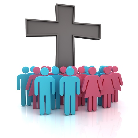 church 3d: Group of the people standing at a christian cross