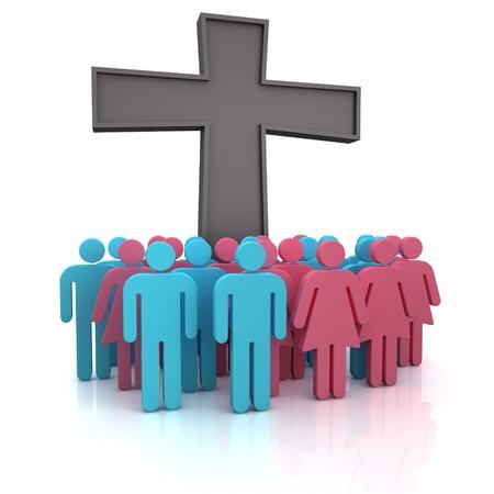 familia en la iglesia: Grupo de la gente de pie en una cruz cristiana Foto de archivo