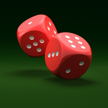 Red dice on green background Stock Photo - 10560641