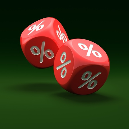 Red dice with percent sign on the green background Stock Photo - 10621191