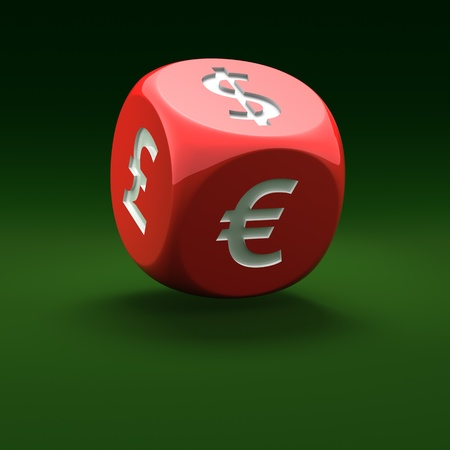 Financial dice on the green background Stock Photo - 10621225