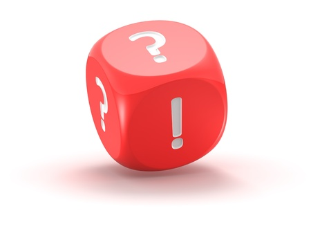 frequently asked questions: Red dice with question mark and exclamation mark on the white background