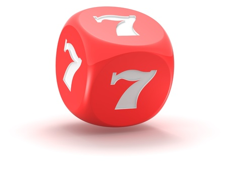 Red dice with lucky seven on the white background photo
