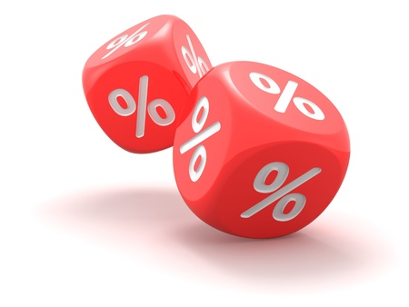 Red dice with percent sign on the white background  photo