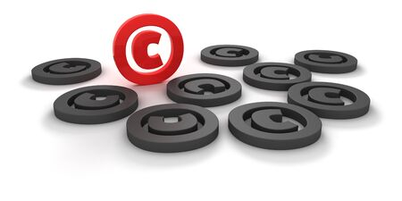 Red and black copyright signs isolated on the white background photo