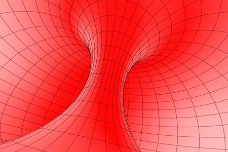 torus: Inside view of a red torus Stock Photo