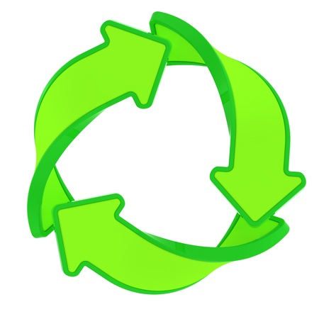 Circle of three green arrows, recycling symbol photo