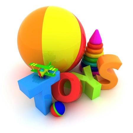 """juguetes: Palabra """"Juguetes"""", bolas, pir�mides y el avi�n Foto de archivo"""