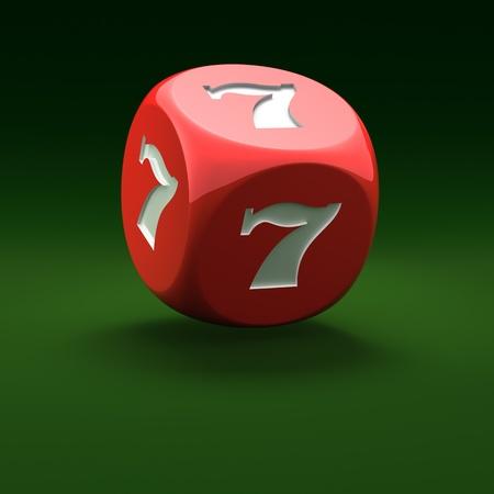Dados rojos con siete afortunados sobre el fondo verde