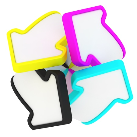 Four arrows in CMYK swirl isolated on the white background photo