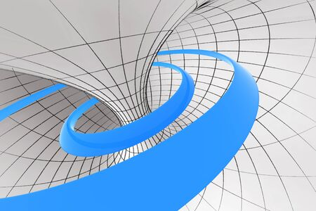 Blue abstract spiral inside the torus photo