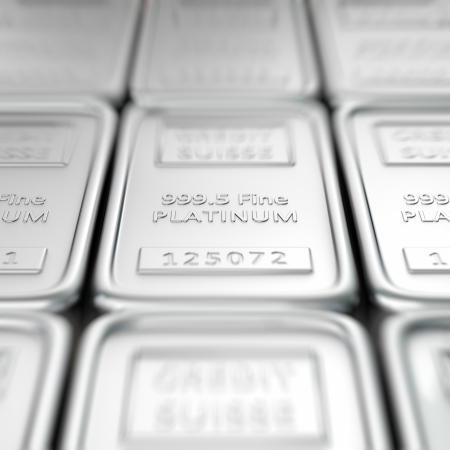 Stack of platinum ingots. Macro, shallow depth of field Stock Photo - 10978107