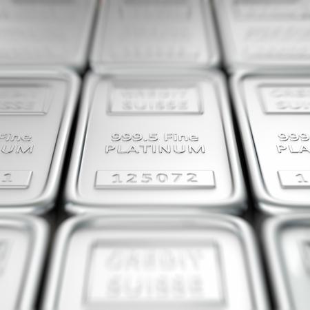 platinum: Stack of platinum ingots. Macro, shallow depth of field