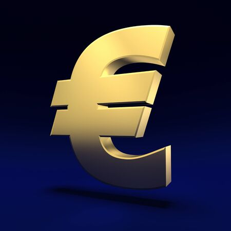 Big euro sign on the blue background photo