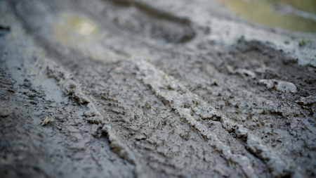 Dirty impassable road in a muddy season Stock Photo - 11144498
