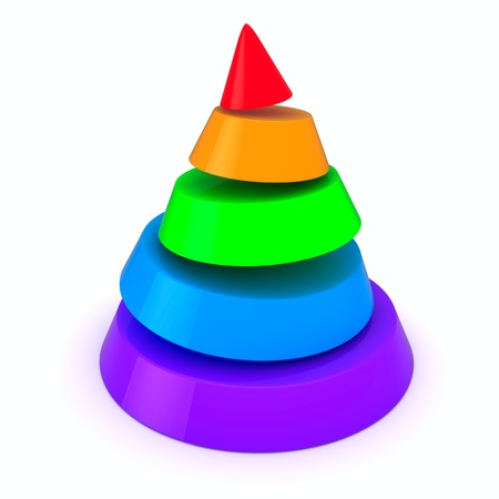 Cone of five colored slices photo