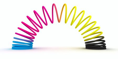 Spiral spring of CMYK colors isolated on the white background Stock Photo - 11932439