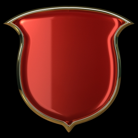 Red glossy shield with golden border isolated on black photo