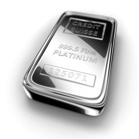Single platinum ingot on white background photo