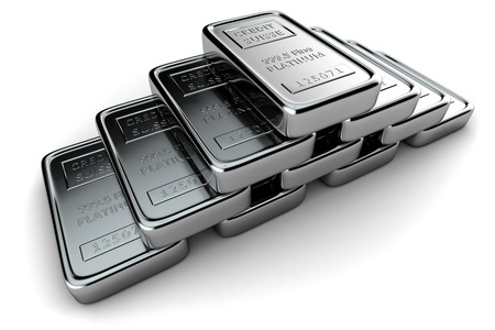 platinum metal: Platinum ingots stacked in a pyramid on white Stock Photo