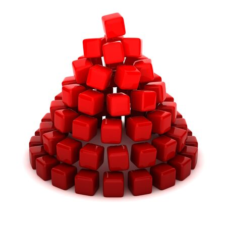 cone shaped: Cone shaped by red cubes