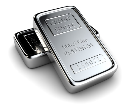 platinum metal: Two platinum ingots lie on each other Stock Photo