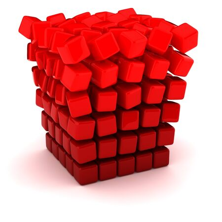 unreliable: Falling apart into small figures cube Stock Photo