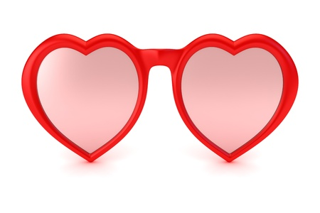 plastic heart: Rose colored glasses - symbol of hope, happiness and love Stock Photo