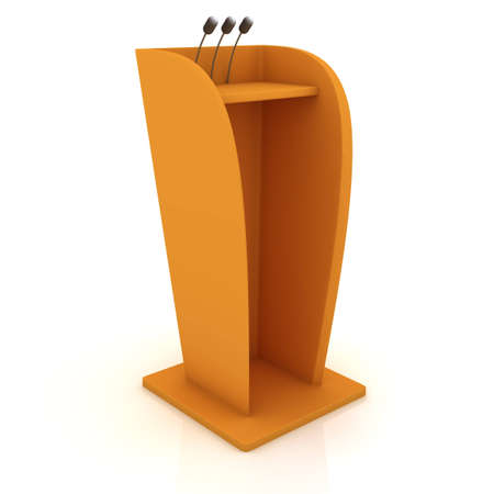 Podium equiped by microphones isolated on the white background photo