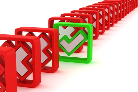 The one green tick in the row of red crosses Stock Photo - 12858132