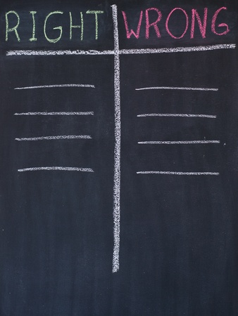 Right and wrong list drawn on a blackboard photo