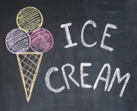 word cool: Ice-cream on a blackboard, chalk drawing Stock Photo