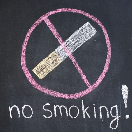 Warning 'no smoking'' written by a chalk on a blackboard photo