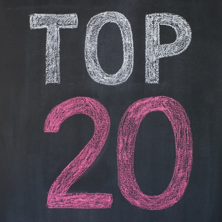 Word 'Top 20'' written by a chalk on a blackboard photo