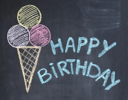 congratulations text: Happy birthday congratulation written by a chalk on a blackboard